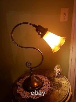 Vintage Lamp-Pulled Feather Iridescent Shade-Antique Fitter-Art Nouveau Style