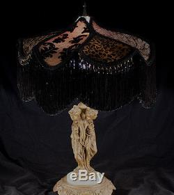 Vintage Lampshade Black, Brown And Antique White Damask Leopard Beaded Fringed