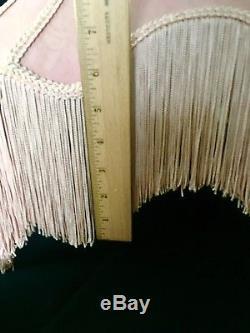 Vintage Lampshade Victorian Pink Mauve Scalloped Fringe Tapestry Large Rose