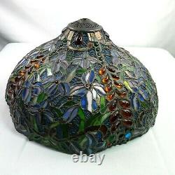 Vintage Large 18 Stained Slag Glass Lamp Shade Arts Crafts Deco Shell