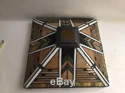 Vintage Large Multi-Colored Stained Slag Glass Lamp Shade