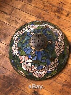 Vintage Large Tiffany Inspired Jeweled Stained Glass Lamp Shade