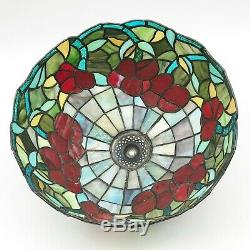 Vintage Large Tiffany Style Shade Leaded Stained Glass Floral Red Blue Green
