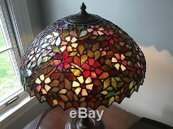 Vintage leaded slag glass lamp shade handel signed base aloadofball Gallery