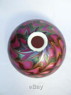 Vintage Lundberg Studios 1990 Signed Art Glass Table Desk Lamp & Shade