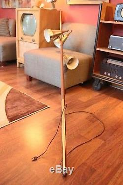 Vintage MCM Danish Tension Pole Lamp with 3 Metal Cone Shades