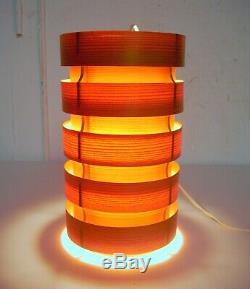 Vintage MCM Hanging Pendant Lamp Shade Bent Wood Teak Finland or Sweden 1960's