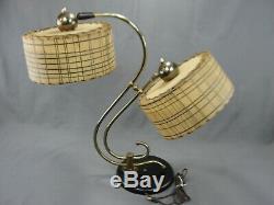 Vintage MCM Table Lamp Two Fiberglass Shades Brass Original Mid Century Modern