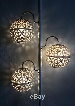 Vintage MCM Tension Pole Floor Lamp Light 3 Shades Globe Gold White Mid Century