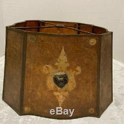 Vintage MICA LAMP SHADE Amber 8 Sided LION MASK Mounts Decorated Panels 1920s