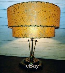 Vintage MID-CENTURY Modern BEIGE FIBERGLASS Lamp SHADE 2 Tier ATOMIC MCM 50s