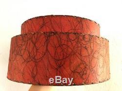 Vintage MID-CENTURY Modern RED FIBERGLASS Lamp SHADE 2 Tier ATOMIC Retro MCM 50s