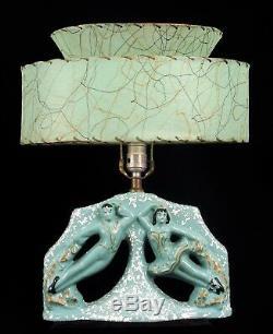 Vintage MID Century Modern Green Ceramic Ballerina & Dancer Lamp Man Woman Shade