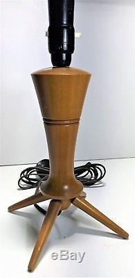 Vintage MID Century Parker Fler Eames Era Wooden Rocket Lamp & Shade 55cm