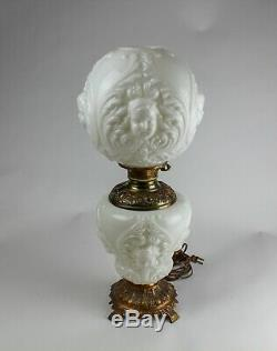 Vintage MILK GLASS Embossed CHERUB FACE Globes Electric Parlor LAMP Working
