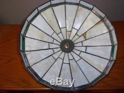 Vintage MISSION / ARTS & CRAFTS pre-owned LEADED SLAG GLASS LAMP SHADE 16