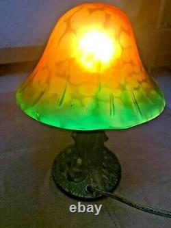 Vintage Magic Mushroom Lamp Resin Base with Yellow Green Glass Shade Retro