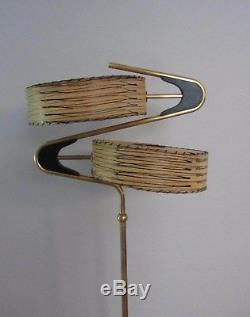 Vintage Majestic Zig Zag Boomerang Floor Lamp Original Fiberglass Shades 1950's