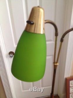Vintage Mid Century Danish Modern Floor Lamp Green Shades