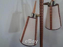 Vintage Mid Century Danish Modern Floor Lamp Walnut & Brass Cone Shades 60's 70s