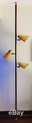 Vintage Mid-Century Danish Modern Tension Pole Lamp Light Cone Shades