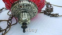 Vintage Mid Century Hanging Swag Lamp Red/Orange Shade