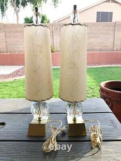 Vintage Mid Century MCM Table Lamps 2 pair with Fiberglass Shades Lucite Gold