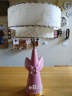 Vintage Mid Century Mod C Miller Pink Gold Bow Lamp Fiber Glass TWO Tier Shade