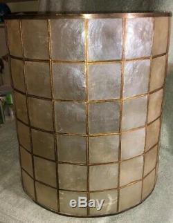 Vintage Mid Century Modern 15 Capiz Shell & Brass Metal Drum Style Lamp Shade