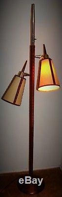 Vintage Mid Century Modern 2 Cone Shades Teak Wood & Brass Pole Floor Lamp
