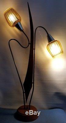 Vintage Mid Century Modern Danish Teak Light Table Lamp Wood W Special Shades