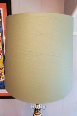 Vintage Mid Century Modern F. A. I. P. FAIP Table Lamp Shade Retro Turquoise & Teak