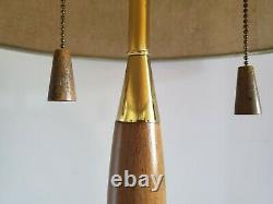 Vintage Mid Century Modern LAUREL Wood & Brass Table Lamp withShade 29