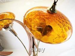 Vintage Mid-Century Modern Lamp with Orange Glass Shades and Wood
