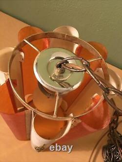 Vintage Mid Century Modern MCM Chain Hanging Swag Lamp Light Hollywood Regency