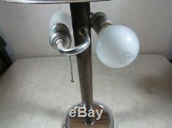 Vintage Mid Century Modern Table Lamp With Hard Plastic Shade Wood Grain