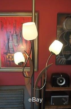Vintage Mid Century Modern Tension Pole Danish Floor Lamp with 3 Tulip Shades