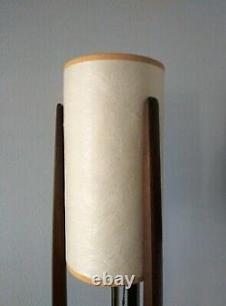 Vintage Mid Century Modern Wood Table Lamp or Floor with Original Shade