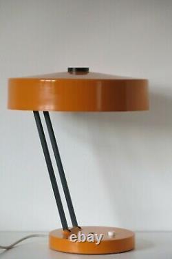 Vintage Mid Century Orange & Black UFO Saucer Shade Space Age Desk Lamp