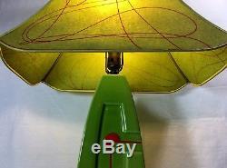 Vintage Mid Century Pop Art Ceramic Lamp & Shade 3-way Switch 32H