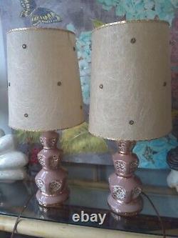 Vintage Mid Century lamps Lightning MCM lamp set withoriginal fiberglass shades