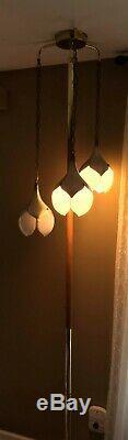 Vintage Mid century modern Tension Pole Lamp 3 Milk glass Tulip Shades 8Ft tall