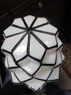 Vintage Milk Glass Art Deco Skyscraper Globe Light Lamp Shade 16 1/2 High