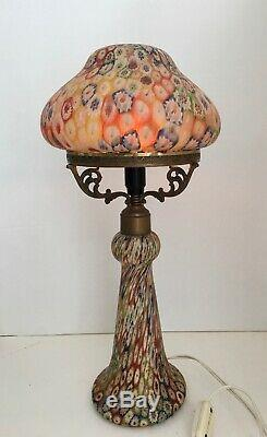 Vintage Millefiori Glass Lamp'Tall' with Glass Shade and Base