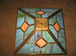 Vintage Mission Arts & Crafts Slag Glass 16 Square Brass Table Lamp Shade NICE