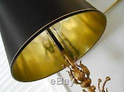 Vintage Monumental Italian Tole Gilt Lamp Hollywood Regency 50 Tall Orig Shade