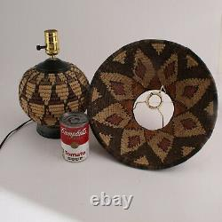 Vintage Native American Rattan Coil Basket Table Lamp & Shade