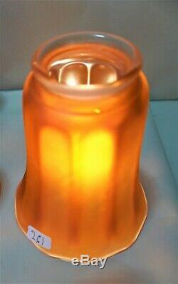 Vintage Nuart Carnival Glass Marigold Iridescent Lamp Shade Set Of 4