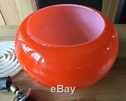 Vintage Orange Glass Globe Light Original 70's Rise And Fall ROLLY Brevettato