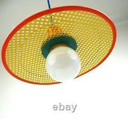 Vintage Original Postmodern 80s Memphis Stunning Hanging Ceiling Lamp Pendant